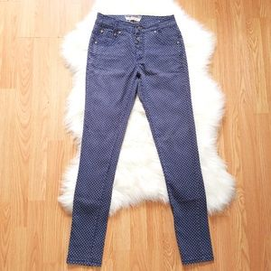 Hot Kiss Skinny High Rise Polka Dot Denim Jeans